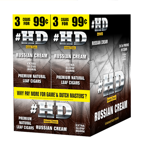 Good Times #HD Cigarillos Russian Cream 30 Packs of 3