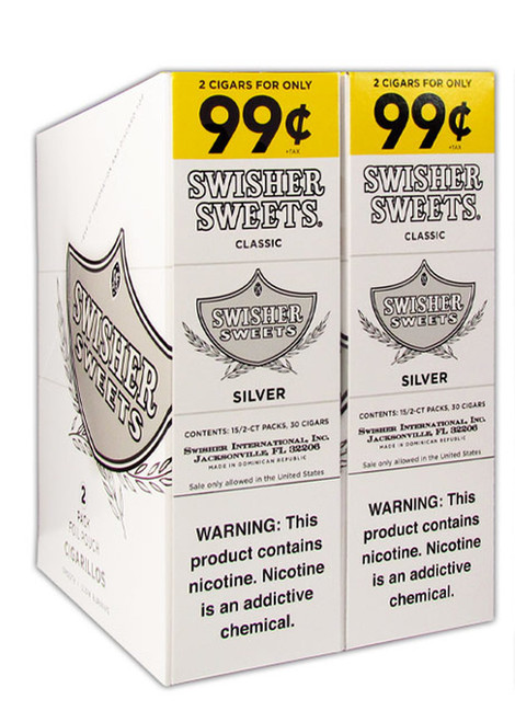 Swisher Sweets Cigarillos Foil Classic Silver 30 Pouches of 2