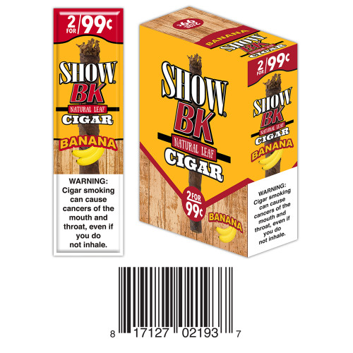 Show Masters Natural Leaf Cigars Banana 15 Packs of 3