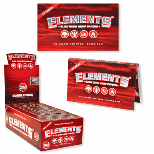 Elements Cigarette Rolling Papers RED Single Wide 25/100