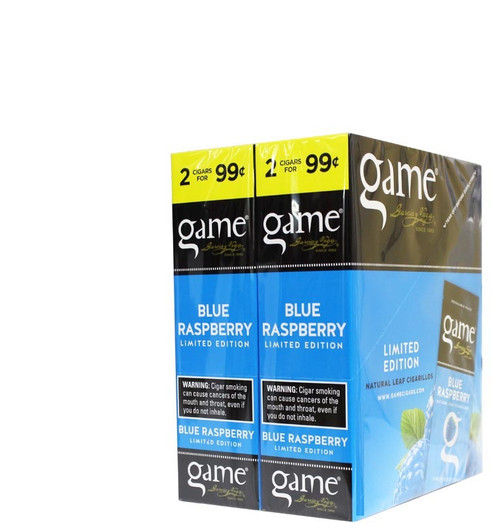 Game Cigarillos Foil Blue Raspberry 30 Packs of 2