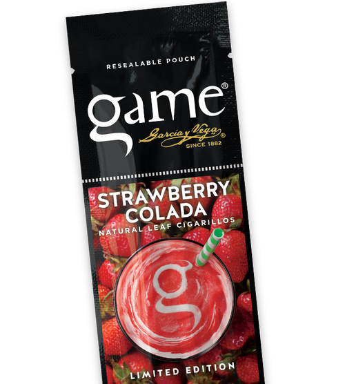 Game Cigarillos Foil Strawberry Colada 30 Packs of 2