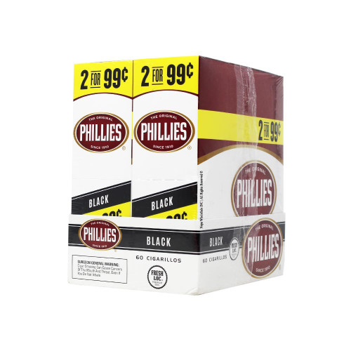 Phillies Cigarillos Black Foil Fresh 30 Packs of 2