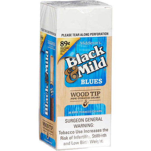 Black & Mild Wood Tip Cigars Blues 25ct Box