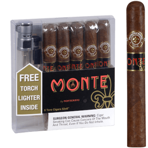 Montecristo Monte Toro With Torch Lighter 5 Ct. Box 6.00X52