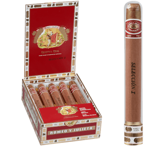 Romeo Y Julieta Reserva Real Seleccion Crystal Churchill 10 Ct. Glass Tubes Box 7.00x50
