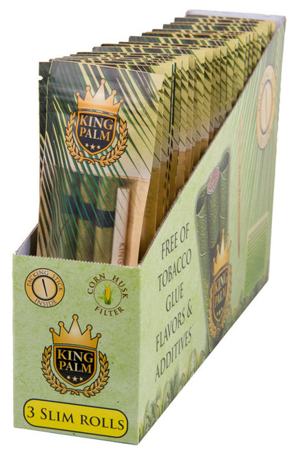 King Palm Hand Rolled Leaf  Slim 24PC DISPLAY