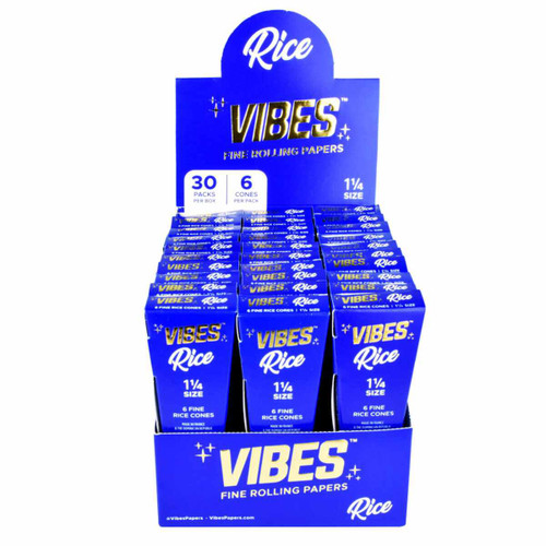 VIBES Rice Cones Rolling Paper- 1 1/4  30 Pc