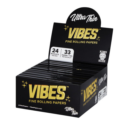 VIBES Ultra Thin Rolling Papers w/ Filters | 24pc Display
