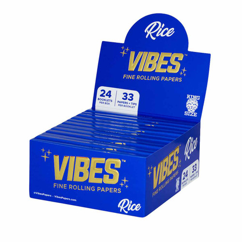 VIBES Rice Rolling Papers Kingsize Slim w/ Filters | 24pc Display