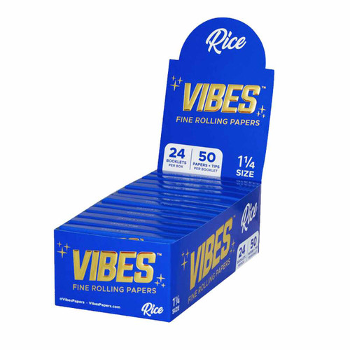 VIBES Rice Rolling Papers 1 1/4 w/ Filters | 24pc Display