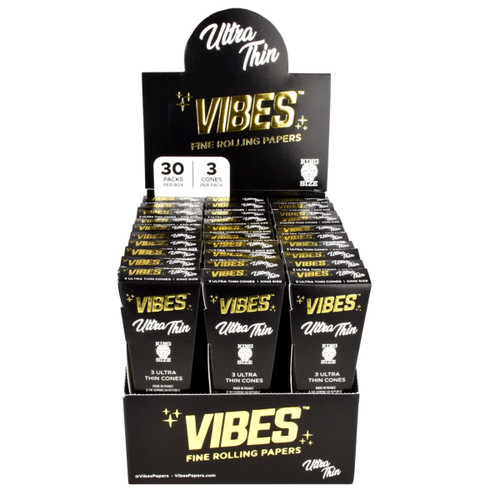 VIBES Ultra Thin Cones Kingsize Slim | 30pc Display
