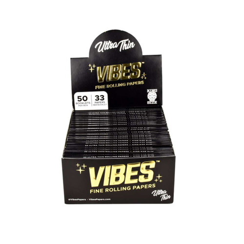 VIBES Ultra Thin Rolling Papers Kingsize Slim | 50pc Display