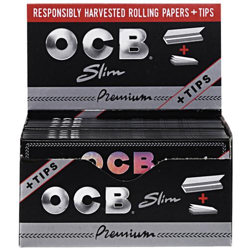 OCB Premium Rolling Papers Slim & Tips 24 Packs