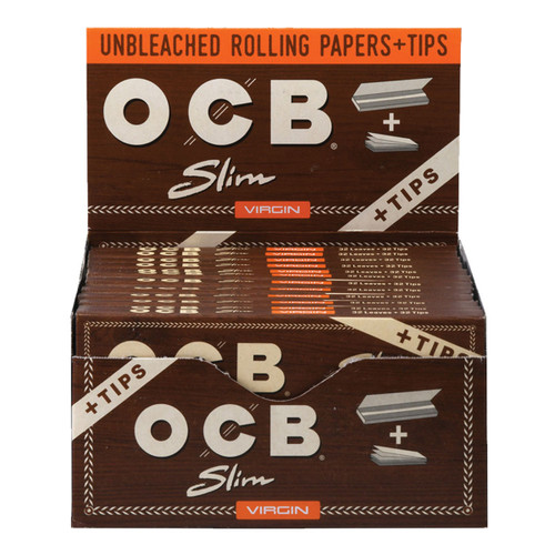 OCB Virgin Unbleached Papers & Tips  Slim 24pc