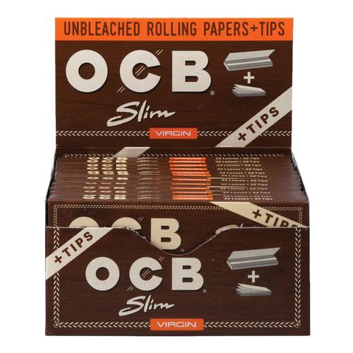 OCB Virgin Unbleached Papers & Tips  Slim 24pc