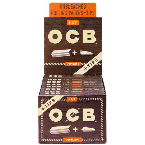 OCB Virgin Unbleached Papers  1 1/4 & Tips 24 Packs