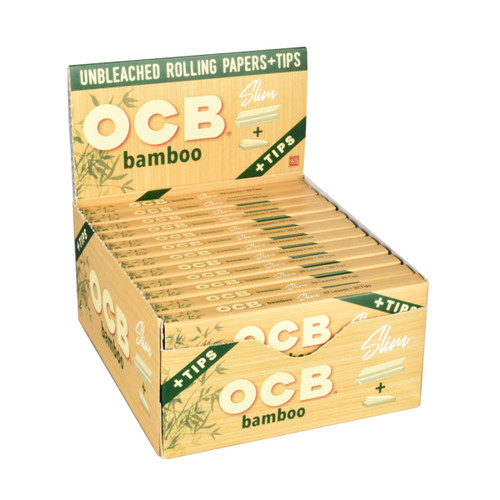 OCB Bamboo Rolling Papers Slim with Tips  24 Packs