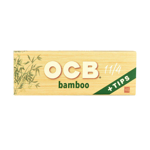OCB Bamboo Rolling Papers 1 1/4  with Tips 24 Packs