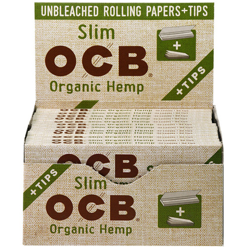 OCB Organic Hemp Rolling Papers King Size Slim Plus Tips 24/32 Ct. Box