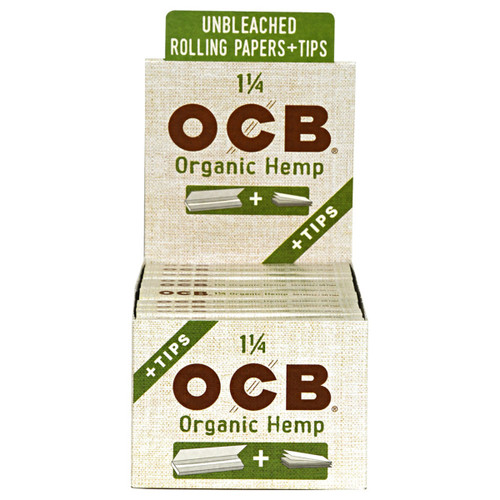 OCB Organic Hemp Rolling Papers 1 1/4 & Tips - 24 Packs
