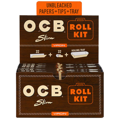 OCB Virgin Roll Kit Papers Slim & Tips & Tray 20 Packs