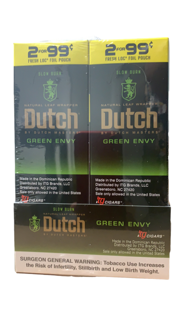 Dutch Masters Cigarillos Foil Green Envy 30 Pouches of 2