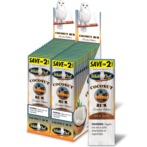 White Owl Cigarillos Coconut Rum 30 Pouches of 2