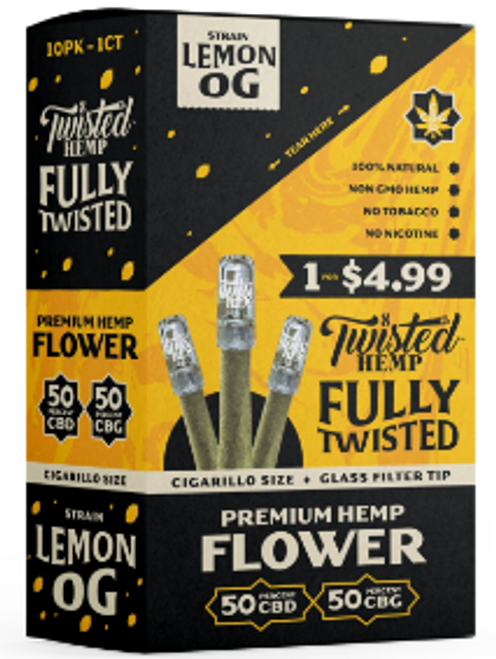 Twisted Wraps Hemp Flower Blunts (10PC) Lemon OG