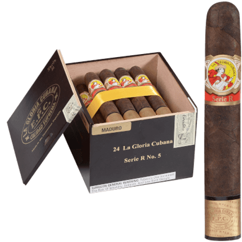 La Gloria Cubana Cigars Serie R No. 5 Maduro (No Cello) 24 Ct. Box 5.50X54