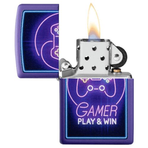 Zippo Neon Video Game Controller Purple Matte Lighter