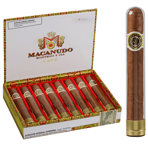 Macanudo Cigars Cafe Crystal Tubos 8 Ct. Box 5.50X50