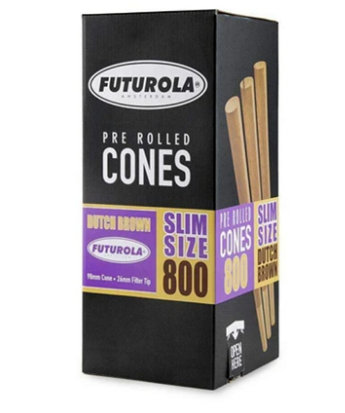 Futurola Cones Slim Size Dutch Brown - 800ct