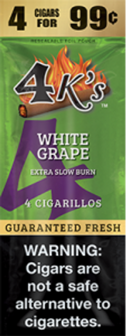 4 Kings Cigars  White Grape 15 Pouches of 4