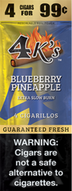 4 Kings Cigars Blueberry Pineapple 15 Pouches of 4