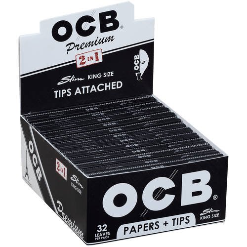 OCB Cigars Papers Premium King Size Slim Plus Tips 24/32 Ct. Box