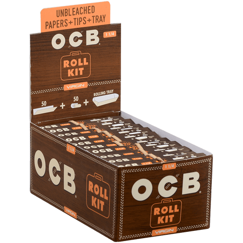 OCB Cigars Unbleached Virgin Papers 1 ¼ Roll Kit 20 Ct. Box