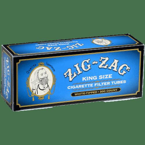 Zig Zag Cigarette Tubes King Size Blue (White Tips) 200 Ct. Box