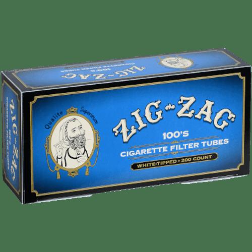 Zig Zag Cigarette Tubes 100mm Lt. Blue (White Tips) 200 Ct. Box