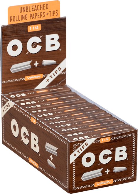 OCB Unbleached Virgin Papers 1 ¼ W/tips 24 Ct. Box
