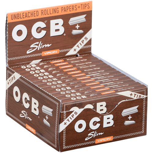 OCB Unbleached Virgin Papers Slim W/tips 24 Ct. Box