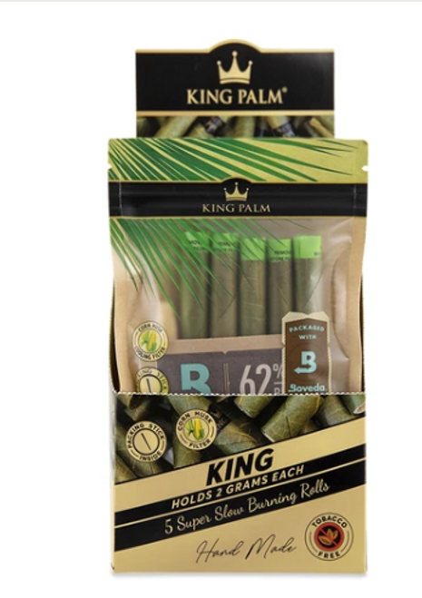 King Palm Pre-Rolls - 5pk w/ Boveda - King Size - 15ct