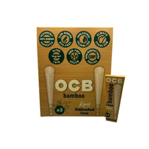 OCB Unbleached Bamboo King Size Cones