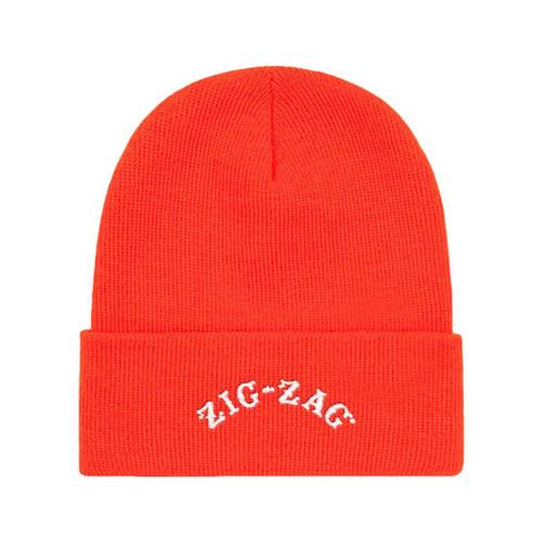 Zig Zag Embroidered Logo Beanie Cap Orange