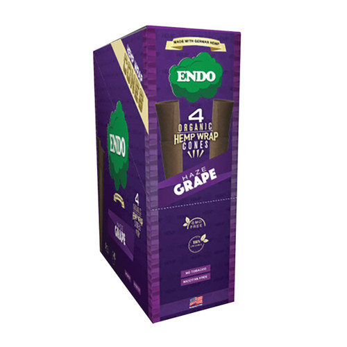 Endo Organic Hemp Wrap Cones Haze Grape 4pk 15pc
