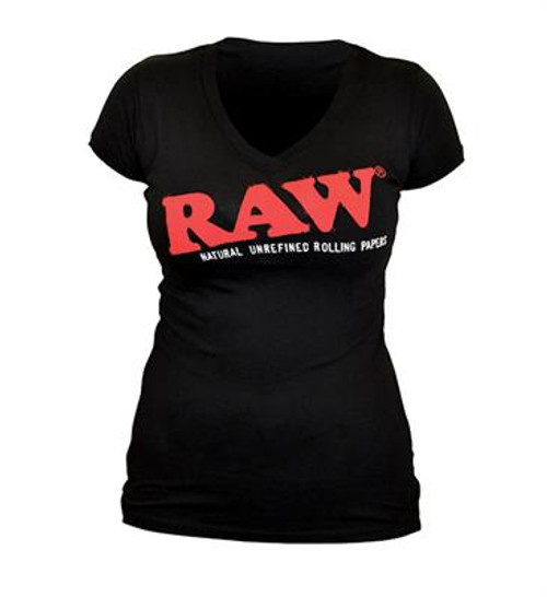 RAW Ladies Black T-Shirt V Neck