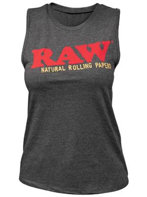 RAW Ladies Dark Gray Heather Muscle Tank