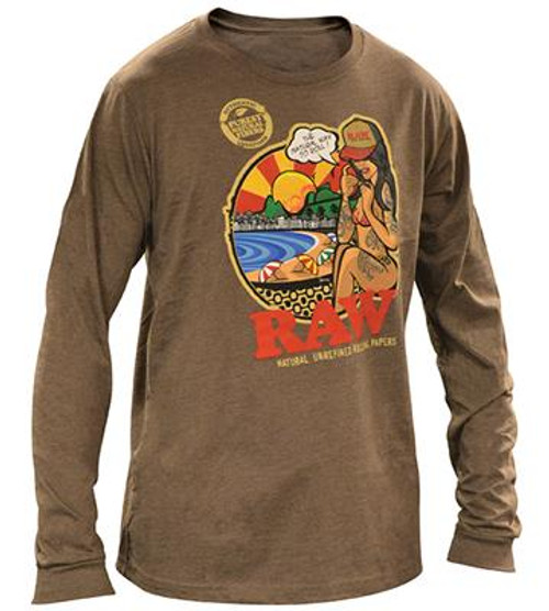 RAW Mens Long Sleeve Brown Shirt With RAWBRAZIL ART
