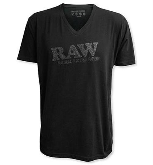 RAWLife Sparkle Black Logo V Neck Shirt