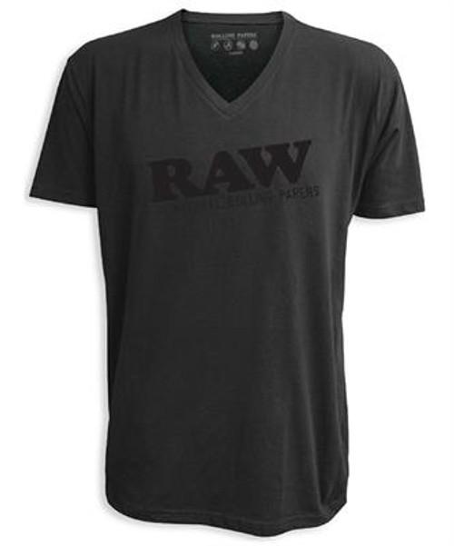 Black v-neck t-shirt with black RAW logo